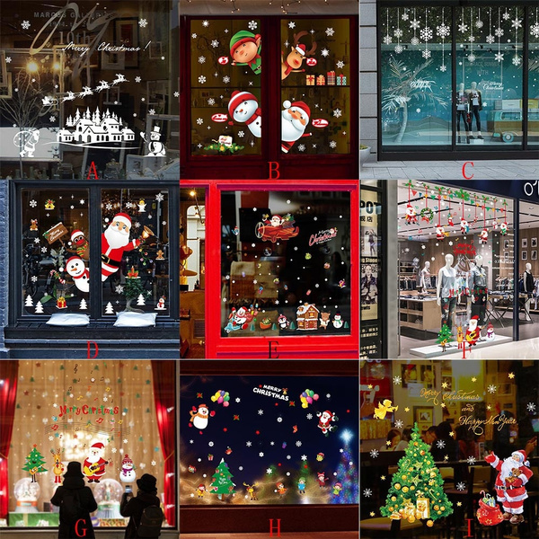 Casa Weihnachtsdeko.Christmas Restaurant Mall Decoration Snow Glass Window Natal Decorao Natale Decorazioni Natal Decoracao Weihnachtsdeko Adornos De Navidad Christmas