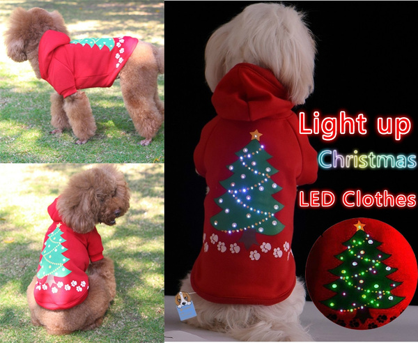 Wish New Light Up Dog Christmas Shirt Costume Xmas Tree Pet Led