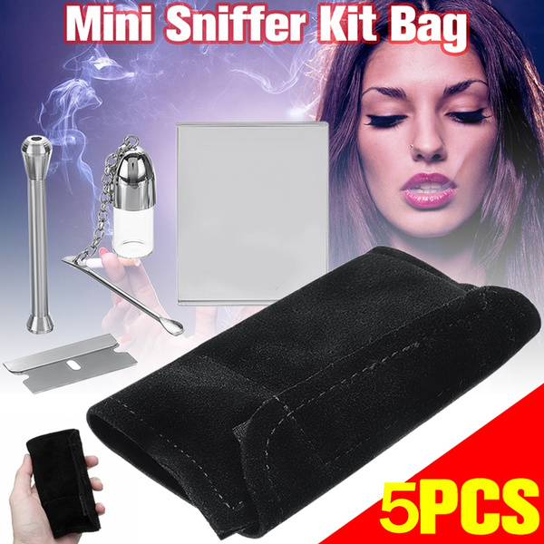 1Set Smoking Snuff Snorter Sniffer Kit Black Pouch Disappede Mirror  Brilliant Gift Medicine Case