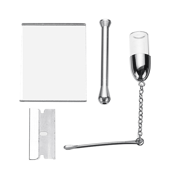 Snuff Snorter Tool Sniffer Straw Hooter Smoking Snuff Snorter Sniffer Kit  Black Pouch Disappede Mirror Brilliant Gift
