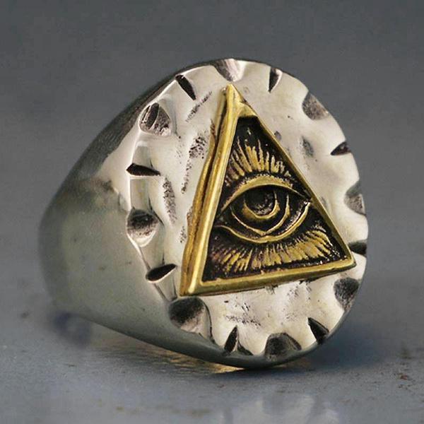 Vintage Men Titanium Steel Biker Ring Freemason Illuminati Triangle Masonic  Rings 316L Stainless Steel Jewelry Size 7-13