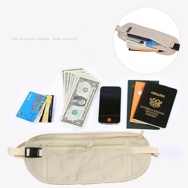Travel Money Belt Pouch Security Wallet for Passport Document Sport Bag Waist