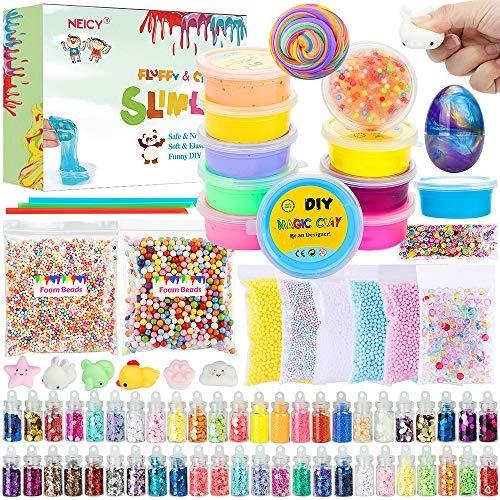 NEICY Slime Kit Slime Supplies, Fluffy Slime Crystal Slime, DIY Slime  Making Kit for Girls Boys Kids, Includes Fluffy Clear Crystal Slime, Foam  Beads,