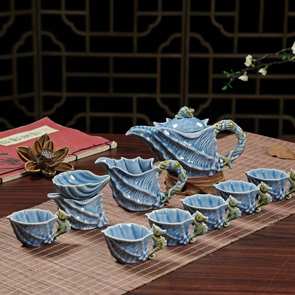 So Exquisite Sky Blue Seashells Ceramic Tea Set by Wish
