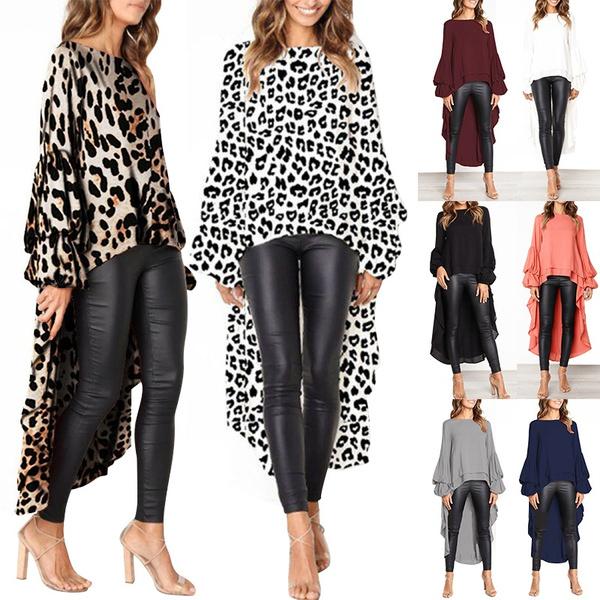 Women Chiffon Leopard Ruffles Irregular Hem Long Sleeve Tops Blouses Dress ONE
