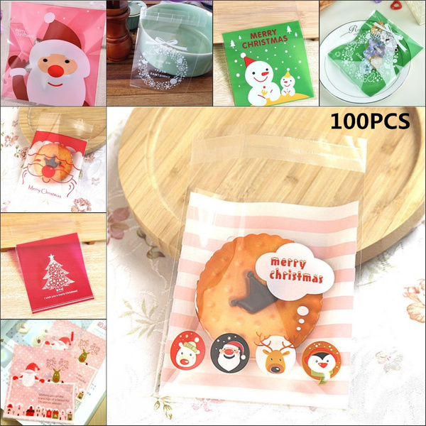 100pcs Set Diy Self Adhesive Merry Christmas Cookie Candy Chocolate Food Package Cellophane Gift Bags
