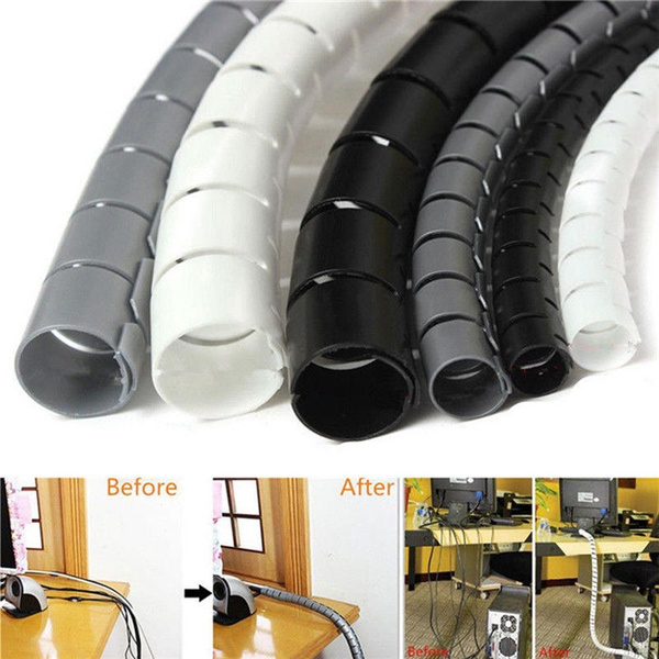 New 2M 8mm//10mm//28mm Spiral Cable Wrap Tidy Cord Wire Banding Storage Organizer