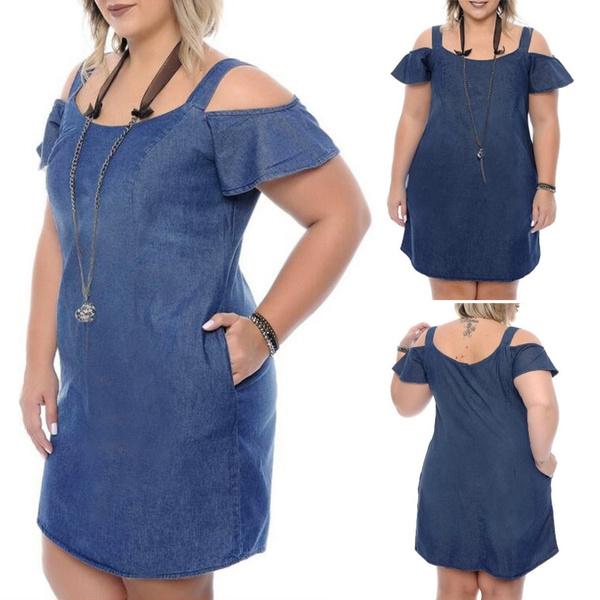 denim dress, party, Plus Size, Evening Dress