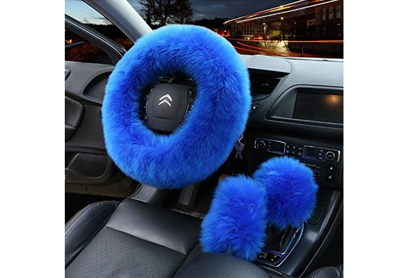 Generic Multicolor Fuzzy Steering Wheel Cover Fuzzy Car Accessories Universal Fit Car Steering Wheel Cover Pink