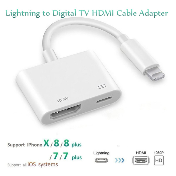 newest 0c012 3fa20 Lightning to Digital TV HDMI Cable Adapter For Ipad air iphone 7 7Plus 8  Hot JZ