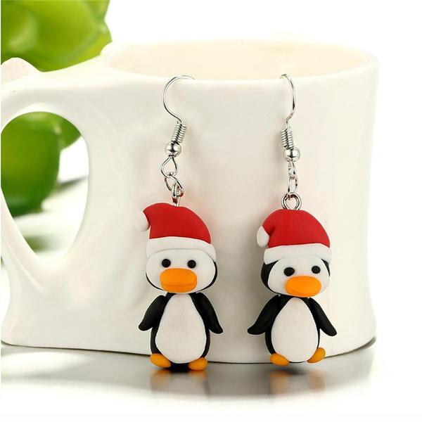 Polymer Clay Christmas Earrings.1pair Women Animal Handmade Jewelry Ear Stud Christmas Earrings Penguin Pattern Polymer Clay