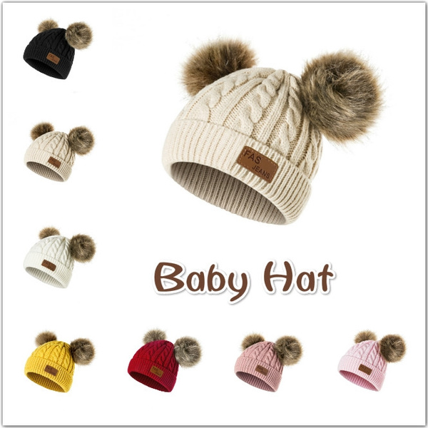 958264d7a5b Baby Hat Boys Girls Pom Poms Hat Children Winter Hat For Girls Knitted  Beanies Double Hairball Thick Baby Hat Infant Toddler Warm Cap
