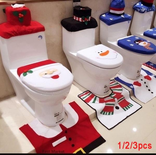 Pleasant 1 2 3Pcs Christmas Fancy Santa Claus Snowman Toilet Seat Cover And Rug Set Xmas Home Bathroom Decor Set Pabps2019 Chair Design Images Pabps2019Com