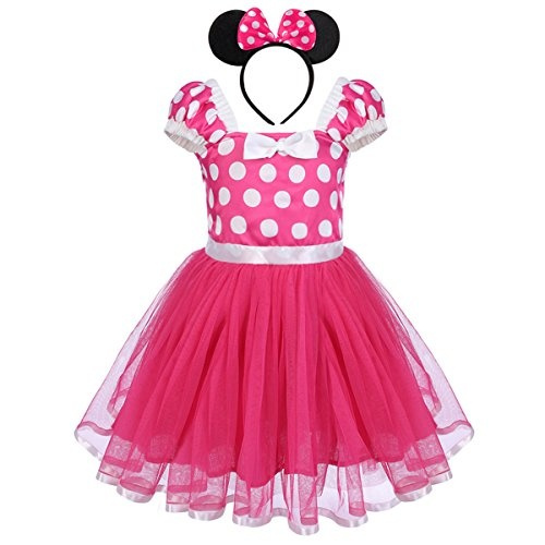 Kid Girls Minnie Mouse Costume Polka Dot Tutu Princess Dress Up Birthday Outfits