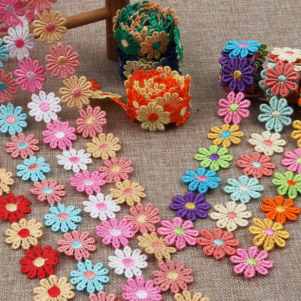 Craft Supplies, lace trim, Polyester, Flowers