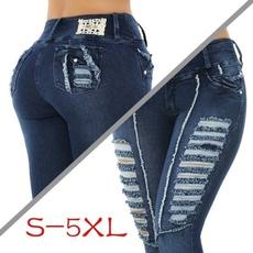 Plus Size, high waist, pants, rippedjean