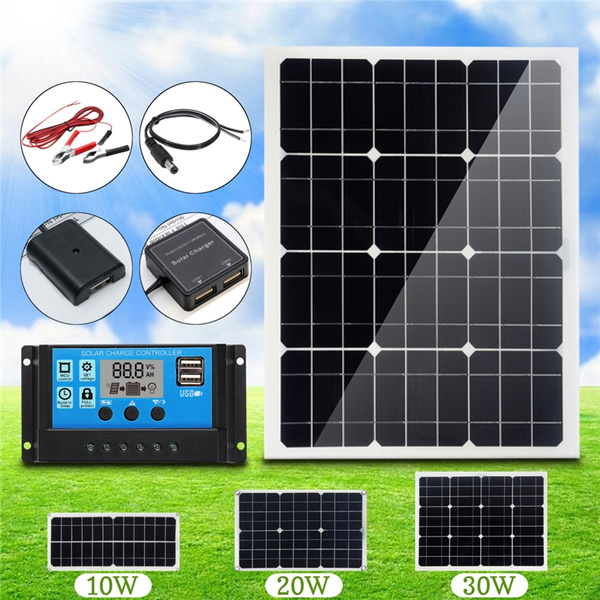 30W Mono Solar Panel USB 12V//5V Car Boat Charger Phone Lighting Battery Clip