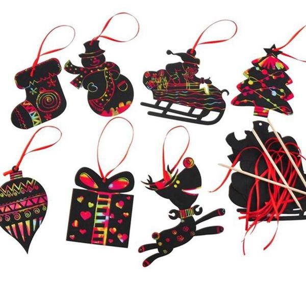 Geek Christmas Ornaments.7pcs Set Magic Color Scratch Card Christmas Tree Ornaments Scratch Art Cards Diy Toy For Children