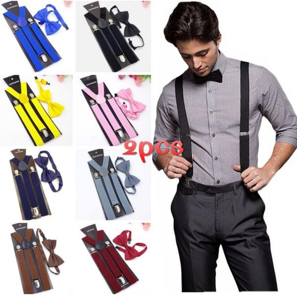 Unisex Elastic Y-back Style Suspenders 6 Clips Pants Clip On Belt Adjustable New
