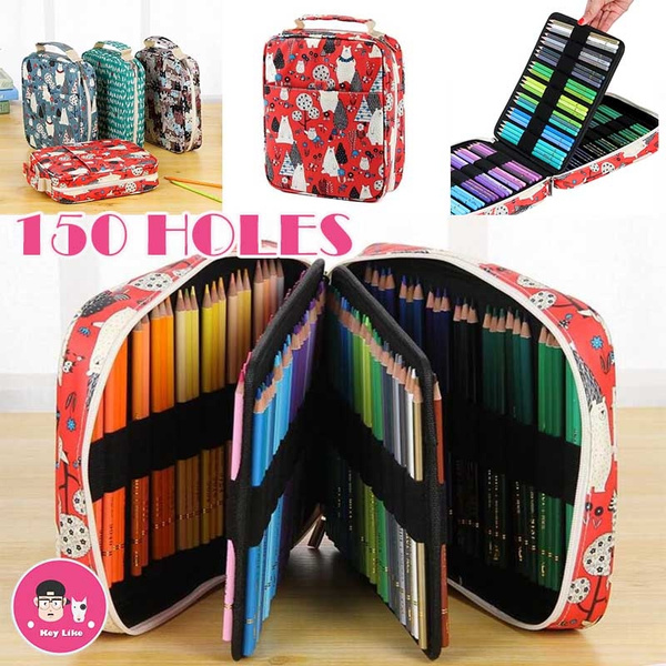 ef0f027b1271 Pencil Case Holder Slot - 150 Holes Colored Pencils or Gel Pens with Zipper  Closure - Large Capacity Pen Organizer for Watercolor Pens & Markers for ...