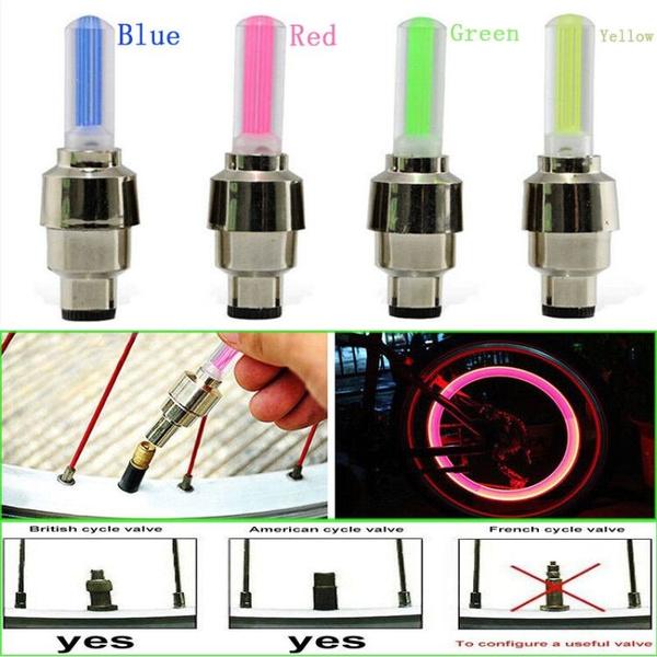 2Pcs Useful LED Bike Bicycle Wheel Valve Stem Cap Tire Neon Light Lamp 7 Colors