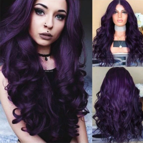 New Fashion Purple Big Wave Long Wig Natural Loose Curly Hair Wig Party Wig Beautiful Wig For Women Halloween Cosplay Costume