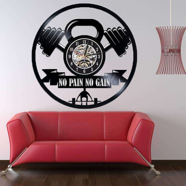 No Pain No Gain Gym Fitness Dumbbell Vinyl Record Wall Clock Bodybuilding Sport