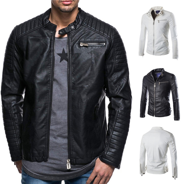a5d48a1bc 2018 New Cool Fashion White Jacket Men 's PU Leather Jacket Personality  Motorcycle Jacket Large Size Fashion Men' S Clothing