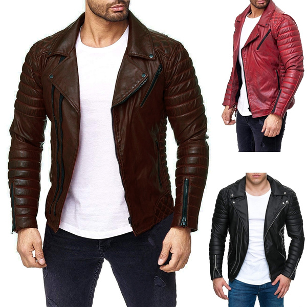 a876d2fd3 2018 New Men 's PU Leather Jacket Personality Motorcycle Jacket Large Size  Fashion Men' S Clothing