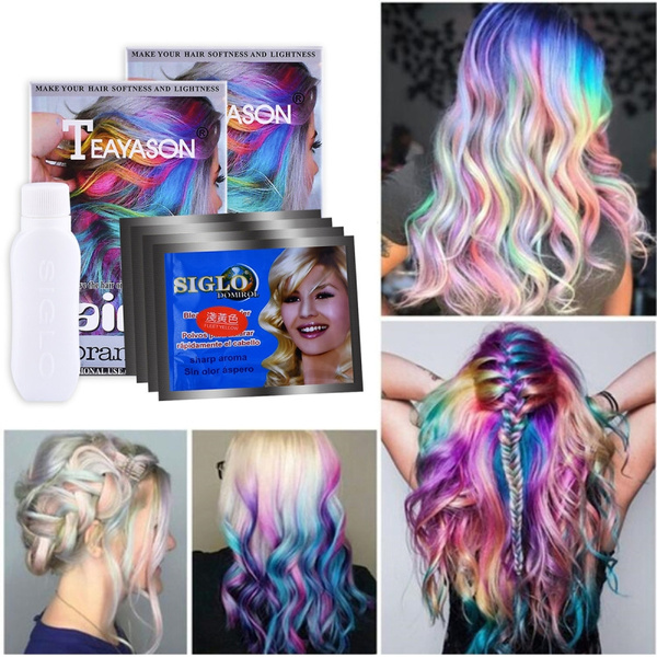 Rainbow Hair Color Wax Hair Paint Cream Hair Colour Dyes Cosplay DIY Hair  Beauty Salon