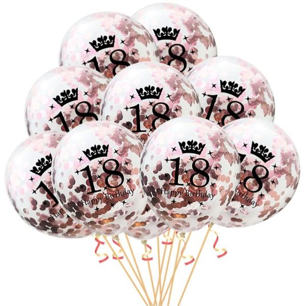 10x Konfetti Luftballons Zahl 18 Geburtstag Happy Birthday 18