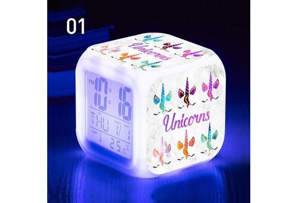 Unicorn Alarm Clock LED Light Alarm Clock Cartoon Clock Boys Girls Alarm  Clock Toys Free Give Alarm Clcok Line