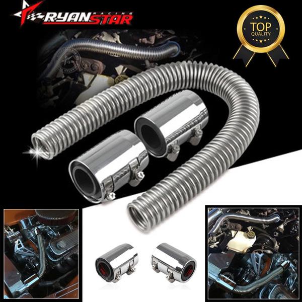 "Chrome Stainless Steel Radiator Hose Kit 24/"" Universal Aluminum Clamp Covers NEW"