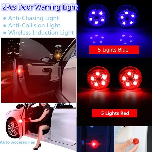 2pcs Universal General Car Door Led Opening Warning Lamp Safely Flash Light Red Kit Wireless Anti-collid Signal Light