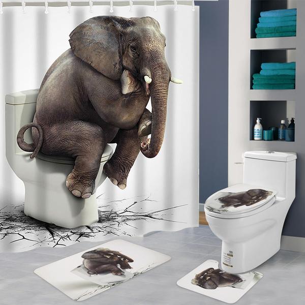 Bathroom, bathroomrugsset, Waterproof, elephantshowercurtain