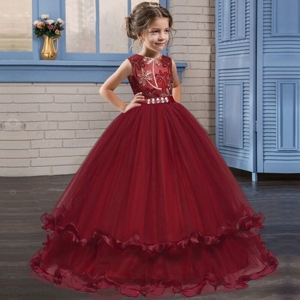 New Arrival Little Girl Red Tulle Party Dress Kids Girls Elegant Lace Ball  Gown for Christmas Party Formal Event Wear for 2,14 Years