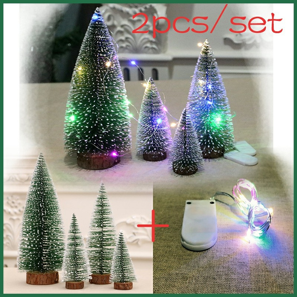 2pcsled Light Mini Christmas Tree Cedar Desktop Small Christmas Tree Desktop Window Set Up Christmas Gift Christmas Decorations