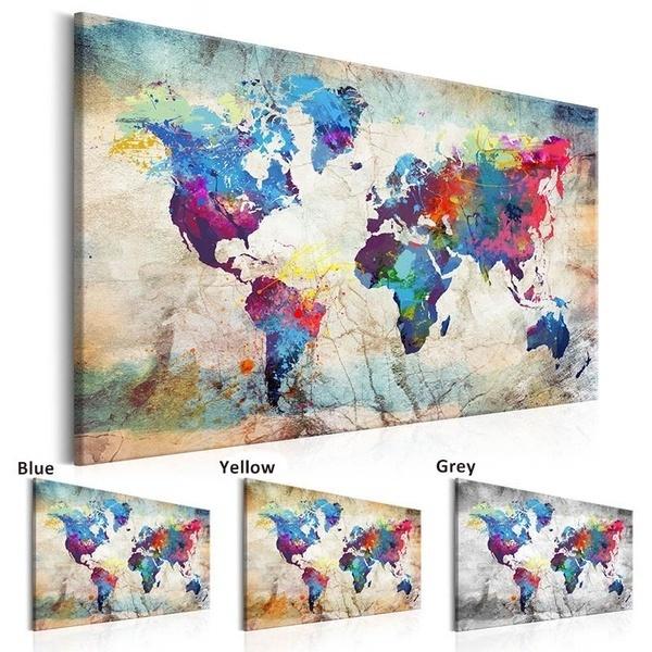 Home & Kitchen, art, Home Decor, worldmap