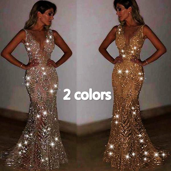 Vestiti Eleganti Wish.Luxurious Sparkling Prom Dress Perspective Sequins Mermaid Evening