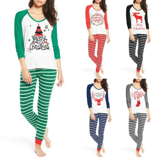 Plus Size Christmas Pajamas.Women Fashion Family Matching Plus Size Christmas Pajamas Set Women Pajamas Sleepwear Nightwear Set Hot