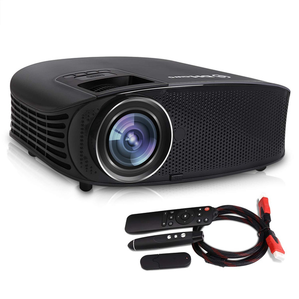Video Projector,DHAWS 3800LM 1080P Full HD HDMI Movie Projector Business  PowerPoint Presentation Home Theater PPT Clicker