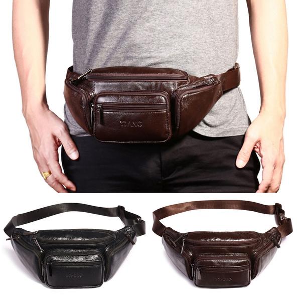 Men Vintage Leather Waist Fanny Pack Travel Outdoor Belt Bum Hip Pouch Chest Bag