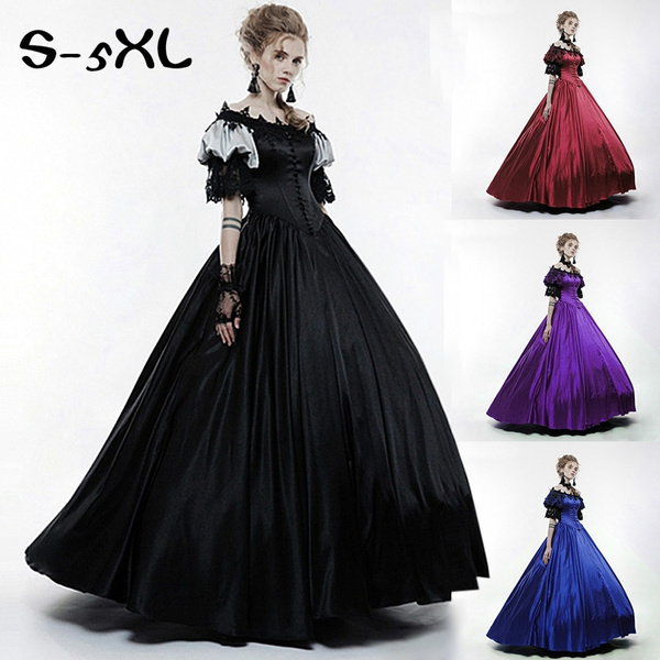4 Colors Women Autumn Fashion Flare Sleeve Medieval Party Dress Witch Pixes  Dark Magic Cosplay Dress Plus Size Renaissance Costume Dress S-5XL