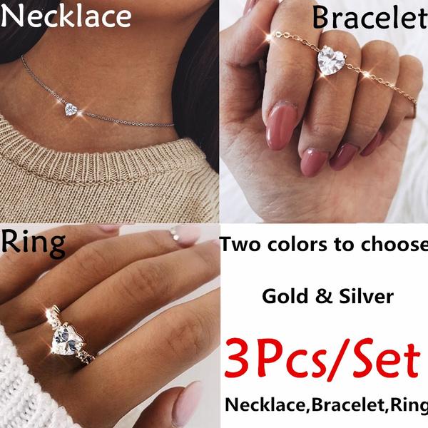 Diamond Heart Necklace Bracelet Ring
