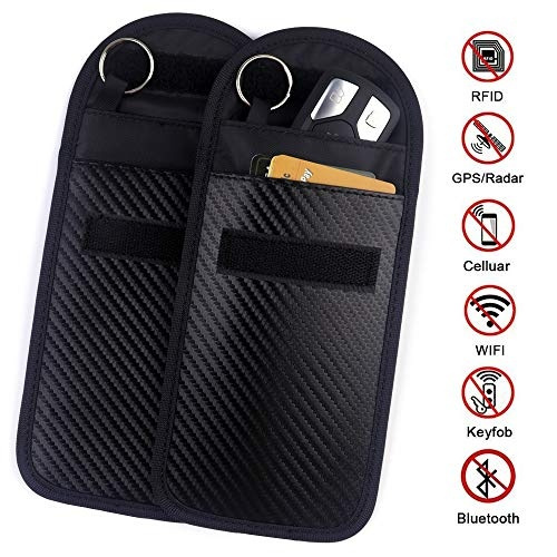 Car Key Fob Signal Blocking Pouch Bag 2 Pack Car Keyless Signal Blocker Faraday Cage,RF Signal Shielding Pouch Bag for Car Key FOB,Antitheft Lock Devices,Fob Protector WiFi//GSM//LTE//NFC//RF Blocker