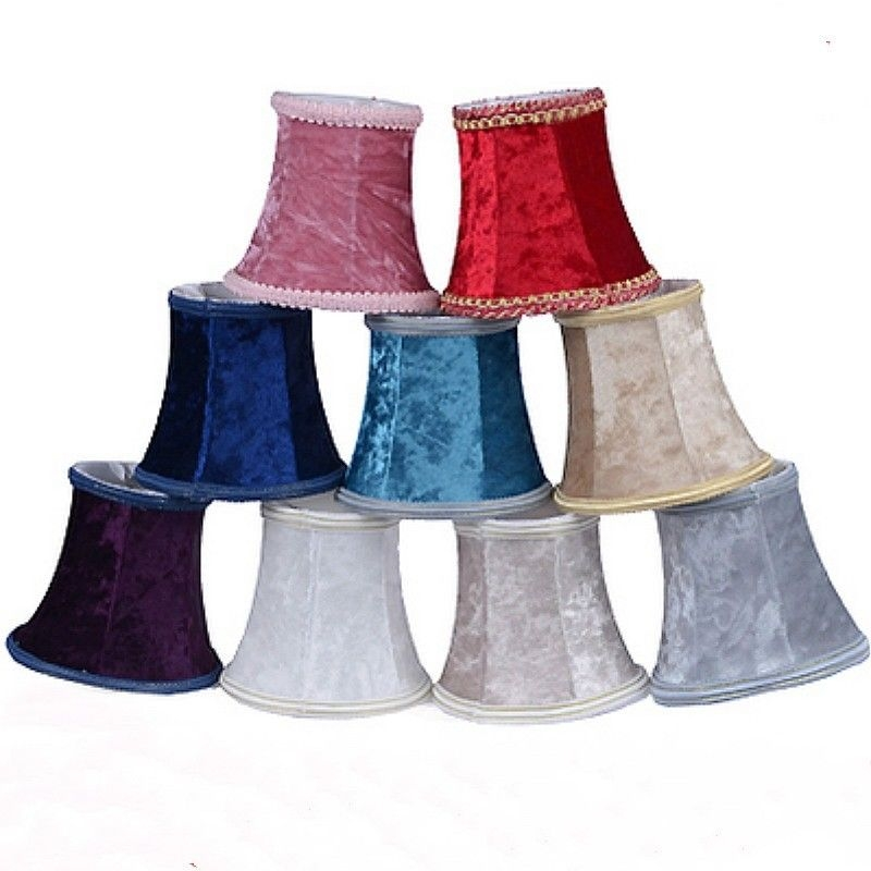 Ceiling Lamp Shade Materials: Vintage Small Lampshade Velvet Fabric Lamp Drum Shade