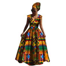 africanprint, Plus Size, Waist, long dress