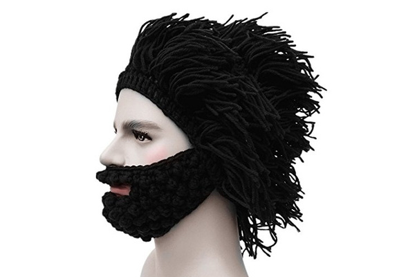 Kafeimali Mens Barbarian Knit Beard Hat Original Beanie Wind Mask ...