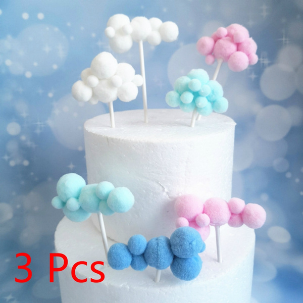 Remarkable 3 Pcs New Creative Multicolor Cloud Cake Decoration Card Party Personalised Birthday Cards Paralily Jamesorg