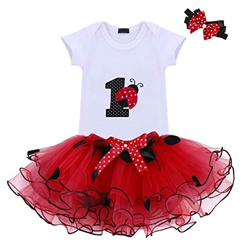 3PCS Baby Girl 1st Birthday Outfits Shirt Top Floral Tutu Shorts Party Costume